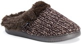Muk Luks Patterned Knit Faux Fur Lined Clog