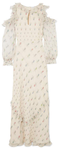 Vilshenko Madeline Cold-shoulder Printed Crinkled Silk-chiffon Gown - Cream