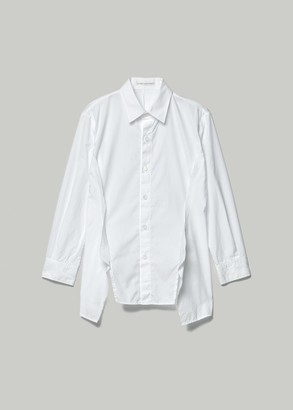 Yohji Yamamoto Women's Front Cut Panel Button Down Blouse in White Size 2