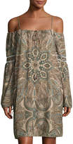 Neiman Marcus Off-the-Shoulder Boho Sheath Dress, Multi Pattern