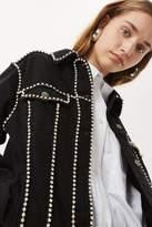Tall crystal seam denim jacket