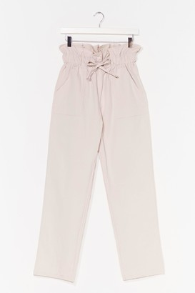 Nasty Gal Womens Linen Up Paperbag Tapered Trousers - Beige - L