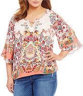 Democracy Plus Printed Cold-Shoulder Lace-Up Henley