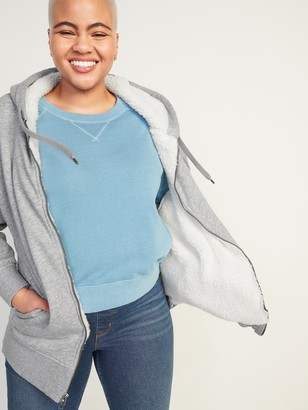 Old Navy Cozy Oversized Sherpa-Lined Zip Hoodie for Women