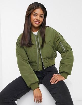 ASOS DESIGN cropped bomber jacket in khaki