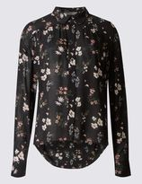 Marks and Spencer PETITE Floral Print Dipped Hem Shirt