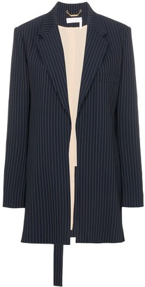 Long pinstripe wool blend blazer by Chloé, available on shopstyle.com for $1382 Gigi Hadid Outerwear SIMILAR PRODUCT