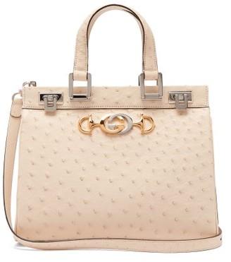 Gucci Zumi Medium Ostrich Shoulder Bag - White