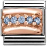 Nomination 9ct Rose Gold Light Blue CZ Classic Charm 430304/05