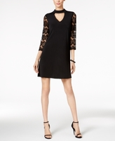 Jessica Howard Petite Lace-Sleeve Choker Dress
