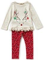 Copper Key Little Girls 2T-4T Christmas Reindeer Top & Dotted Leggings Set