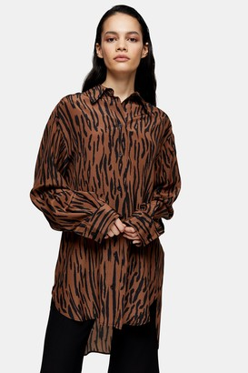 Topshop Womens **Tiger Silk Oversized Shirt By Multi