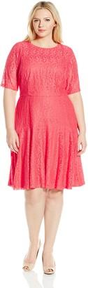 London Times Women's Plus Size Lace Fit & Flare Dress w. Drop Waist Skirt