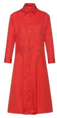 HUGO BOSS A-line linen-blend shirt dress with seam details