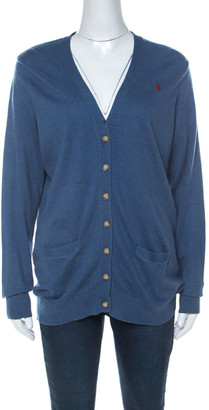 Ralph Lauren Blue Cashmere Blend Boyfriend Fit Cardigan XL