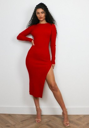 Missguided Red Rib Crew Neck Midaxi Dress