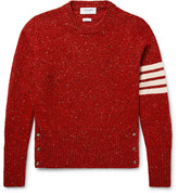 Thom Browne Striped Mélange Wool And Mohair-blend Sweater - Red