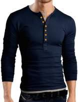 Pishon Men's Henley Shirt Long Sleeve Slim Fit Plain Button Cotton Casual Shirts