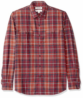 Goodthreads Men's Standard-fit Long-sleeve Plaid Twill Casual Shirt Blue (Rust Navy Rus) Medium