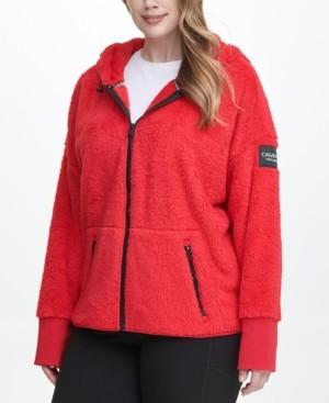 Calvin Klein Size Fleece Zip-Front Hooded Jacket