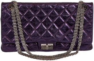 One Kings Lane Vintage Chanel Purple Metallic Maxi Reissue Flap - Vintage Lux