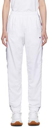 Champion Reverse Weave White Nylon Elastic Cuff Track Pants