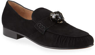 Suede Panther Smoking Loafers