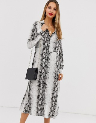 Vila snake print shirt dress-Multi