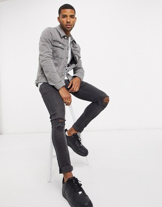 ASOS Dark Future skinny western denim jacket in gray