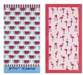 Betsey Johnson Watermelon Picnic/Flamingo Strut Set of 2 Beach Towels