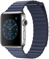 Apple Watch Series 2 42mm Stainless Steel Case with Midnight Blue Leather Loop - Large MNPX2X/A