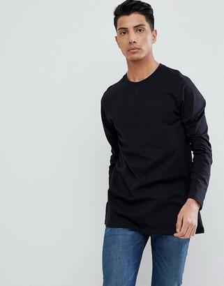 Asos DESIGN longline long sleeve t-shirt in black
