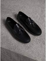 Burberry Tasselled Polished Leather Loafers , Size: 39, Black