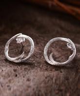 Lotus Fun Women's Earrings Silver - Sterling Silver Circle Branch Stud Earrings