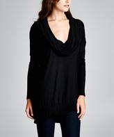 Black Knit Drape Neck Tunic