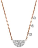 Meira T 14K White and Rose Gold Half Moon Necklace with Diamonds, 17.5""