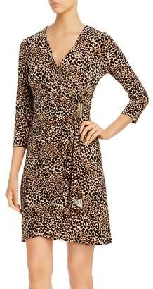 Calvin Klein Printed Faux-Wrap Dress