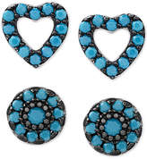 Macy's 2-Pc. Set Manufactured Turquoise Heart and Oval Stud Earrings in Sterling Silver