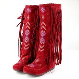 Caddy Wolfclaw Vintage Cotton Moccasin Boots Women's Suede Bohemian Flat Fringe Mid Calf Boots