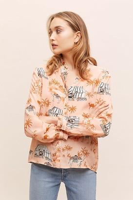 Kachel X Anthropologie Kachel Ruffled Animal-Print Shirt