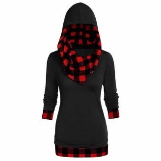 jieGorge Women Tops and Blouses Women Plus Size Plaid Print Hooded Convertible Collar Sweatshirtomen Plus Size H