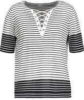 Autumn Cashmere Lace-Up Striped Cotton-Jersey Top