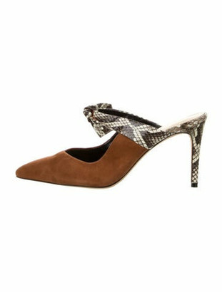 Alexandre Birman Suede Animal Print Mules Brown