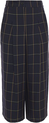 McQ Cropped Pleated Checked Twill Wide-leg Pants