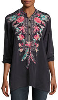 Johnny Was Hummingbird Long-Sleeve Embroidered Blouse, Plus Size