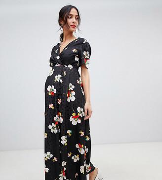 Asos DESIGN Maternity button through maxi tea dress in floral jacquard