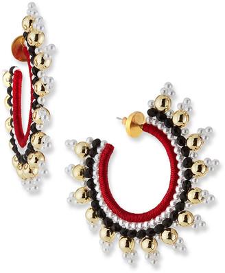 Oscar de la Renta Small Embellished Hoop Earrings