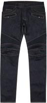Balmain Dark Blue Slim-leg Biker Jeans