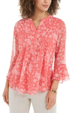 Charter Club Printed Pintuck Ruffled-Sleeve Top, Created for Macy's