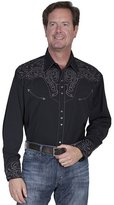Scully Scuy Western Shirt Mensong Seeve Snap Embroidery Charcoa P-852